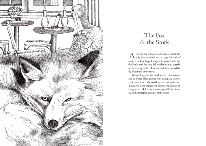 The fox and the Stork Aesop's Fables illustration