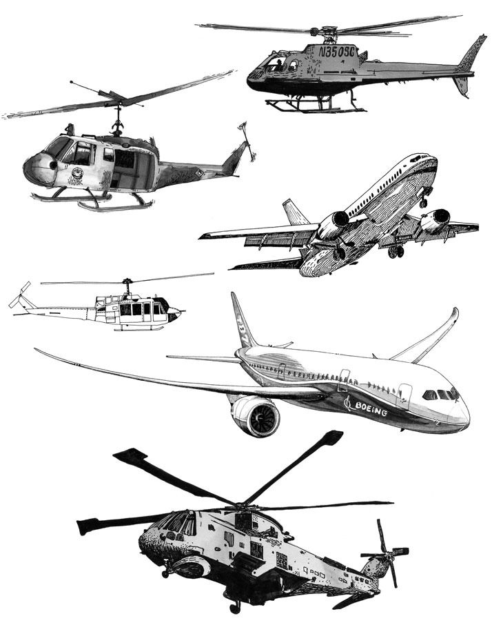 Aircraft illustration of planes and helicopters by Emily Wallis
