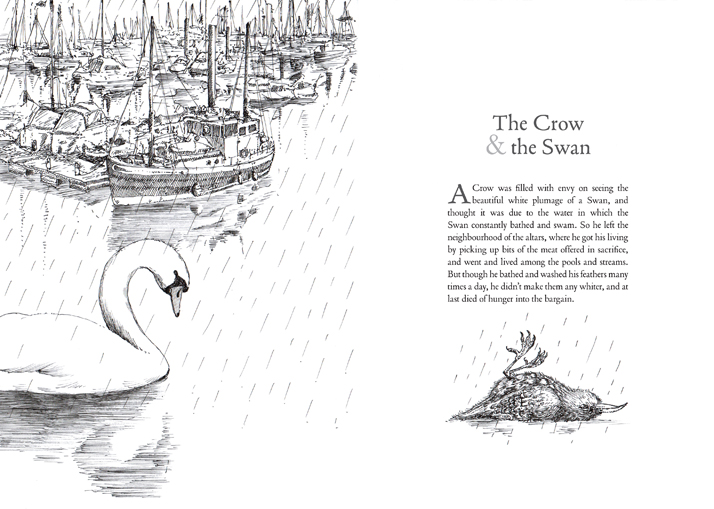 The crow and the swan illustration