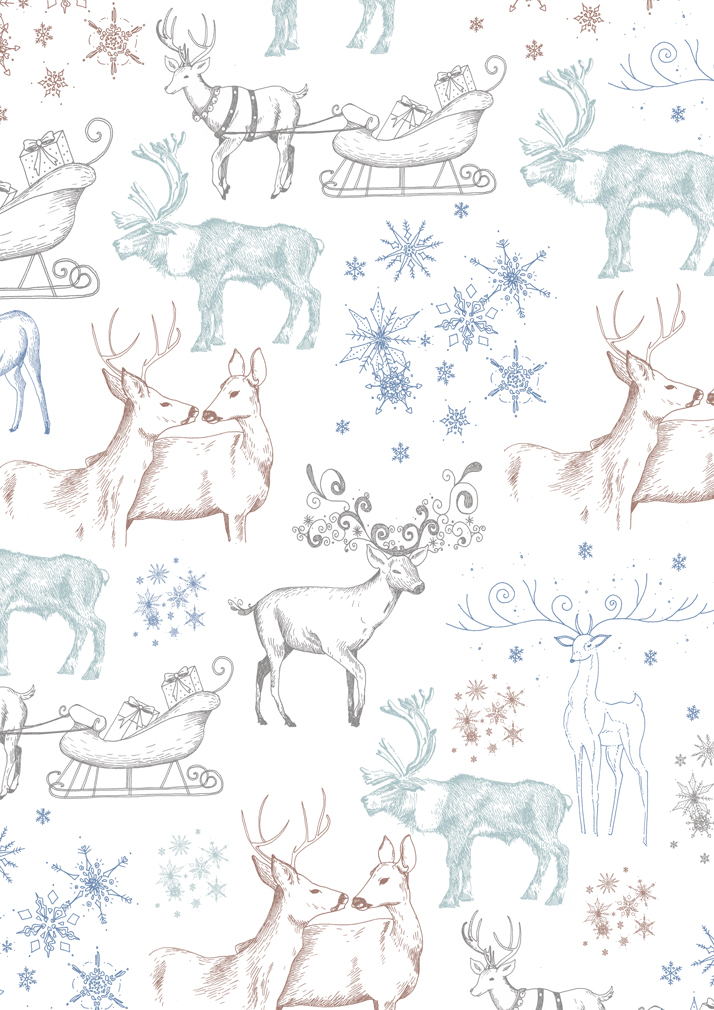 Christmas reindeer wrapping paper illustration by Emily Wallis