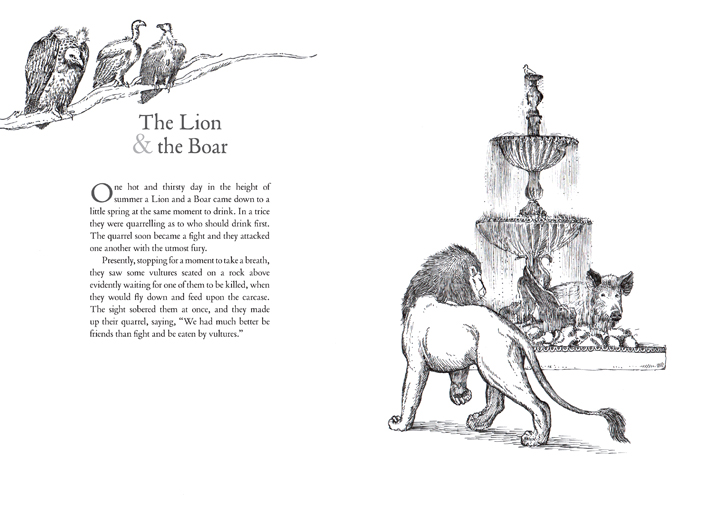 The lion and the boar Illustrated Aesop's fables