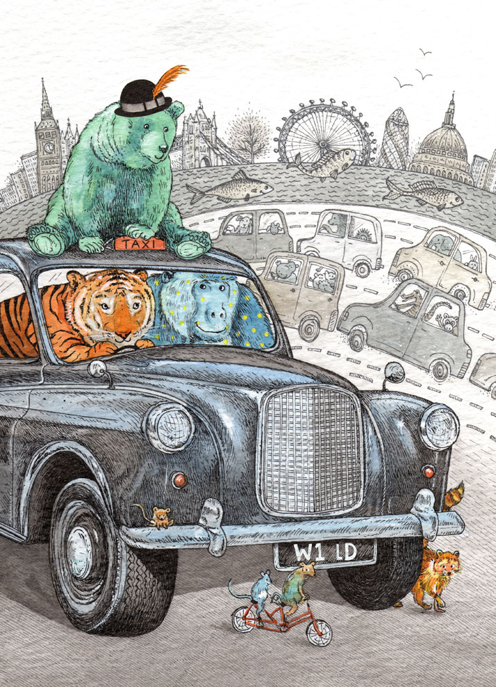 Greeting card illustration of a tiger and a gorilla in a London taxi by Emily Wallis