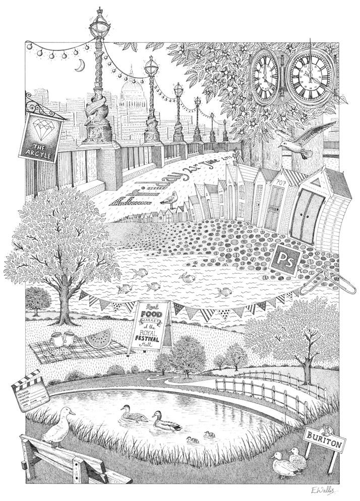 Montage line drawing illustration for Amey Turner