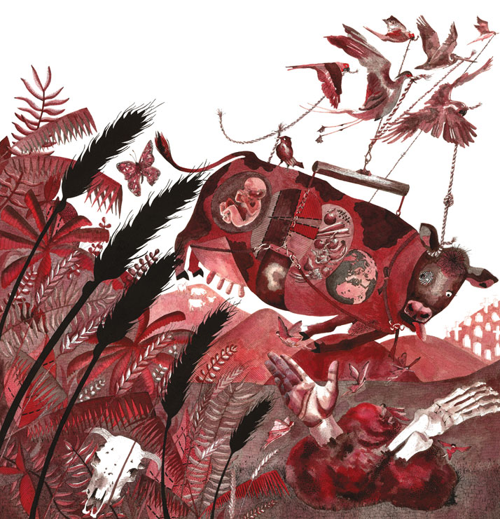 Illustration of a Mad Cow by Emily Wallis