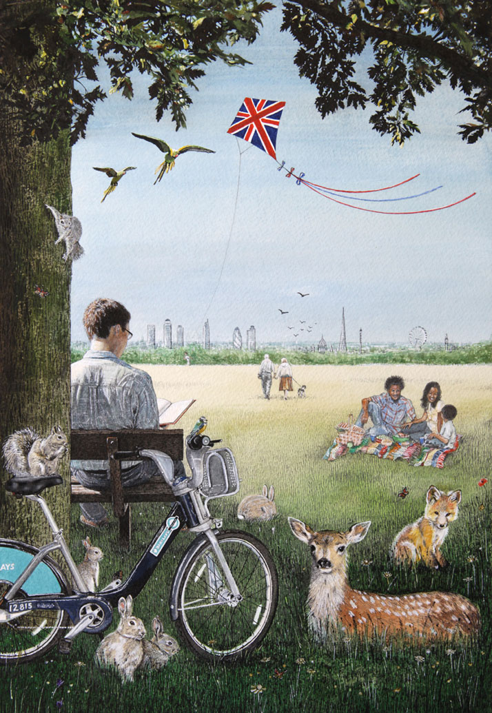 Painting of Parliament Hill, London