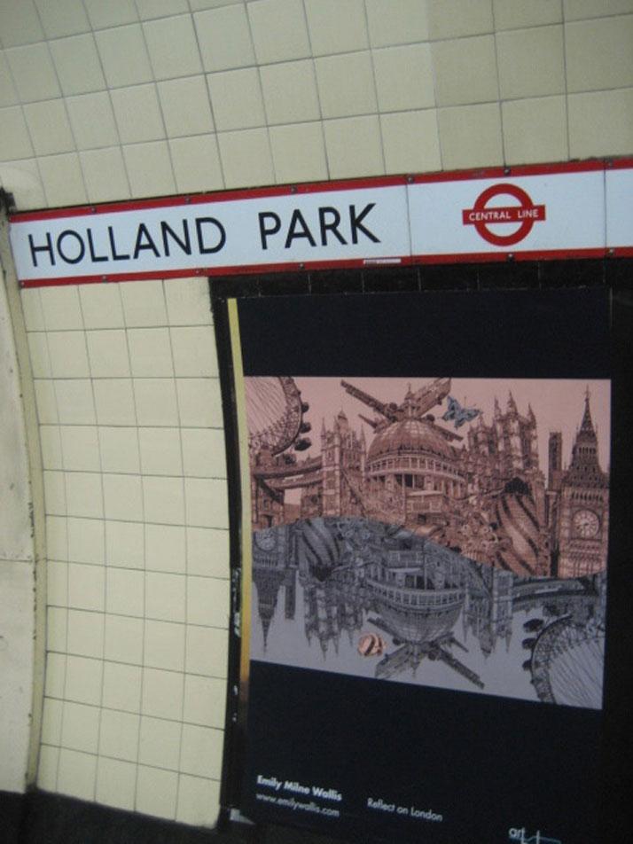 Reflect on London Illustration at Holland Park London Underground Station