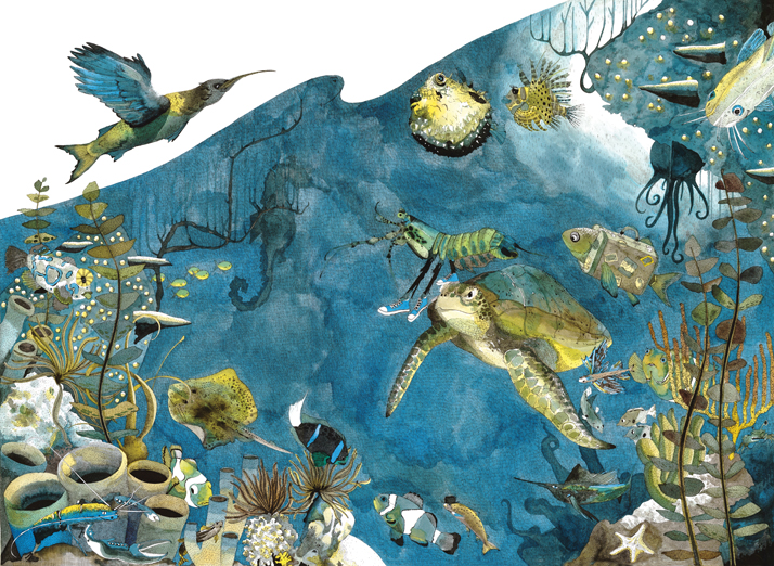 Underwater Seascape Illustration by Emily Wallis