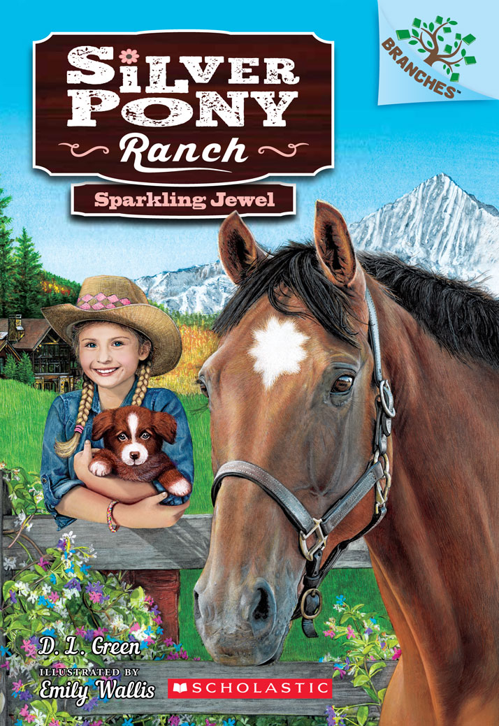 Front cover illustration for Sparkling Jewel, Silver Pony Ranch Emily Wallis, D. L. Green, Scholastic