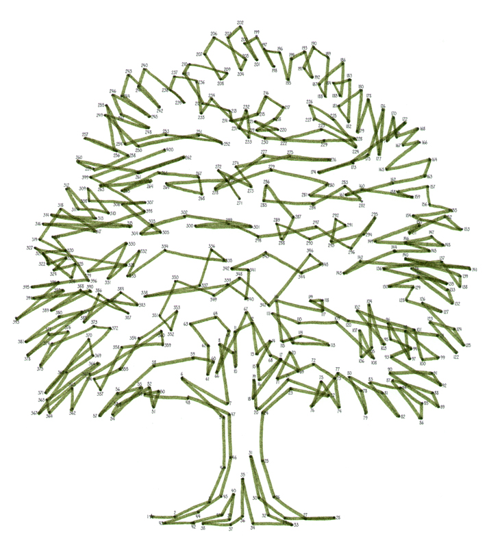 Example of a tree dot-to-dot by emily wallis from anti stress dot-to-dot book macmillan