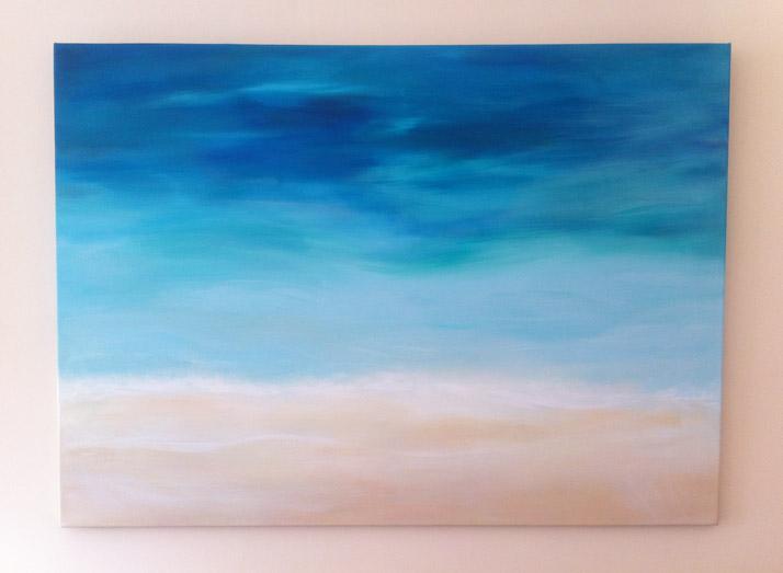Beach painting acrylic paint on canvas by Emily Wallis