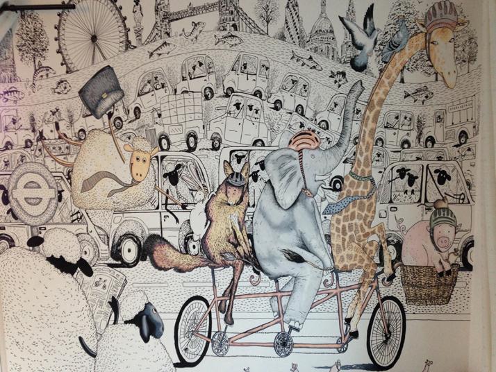 Wall Art Illustration Animals on bike