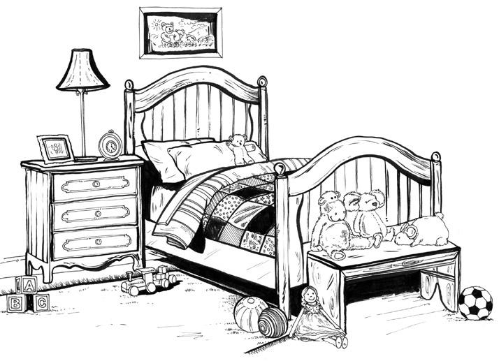 Child's bedroom illustration