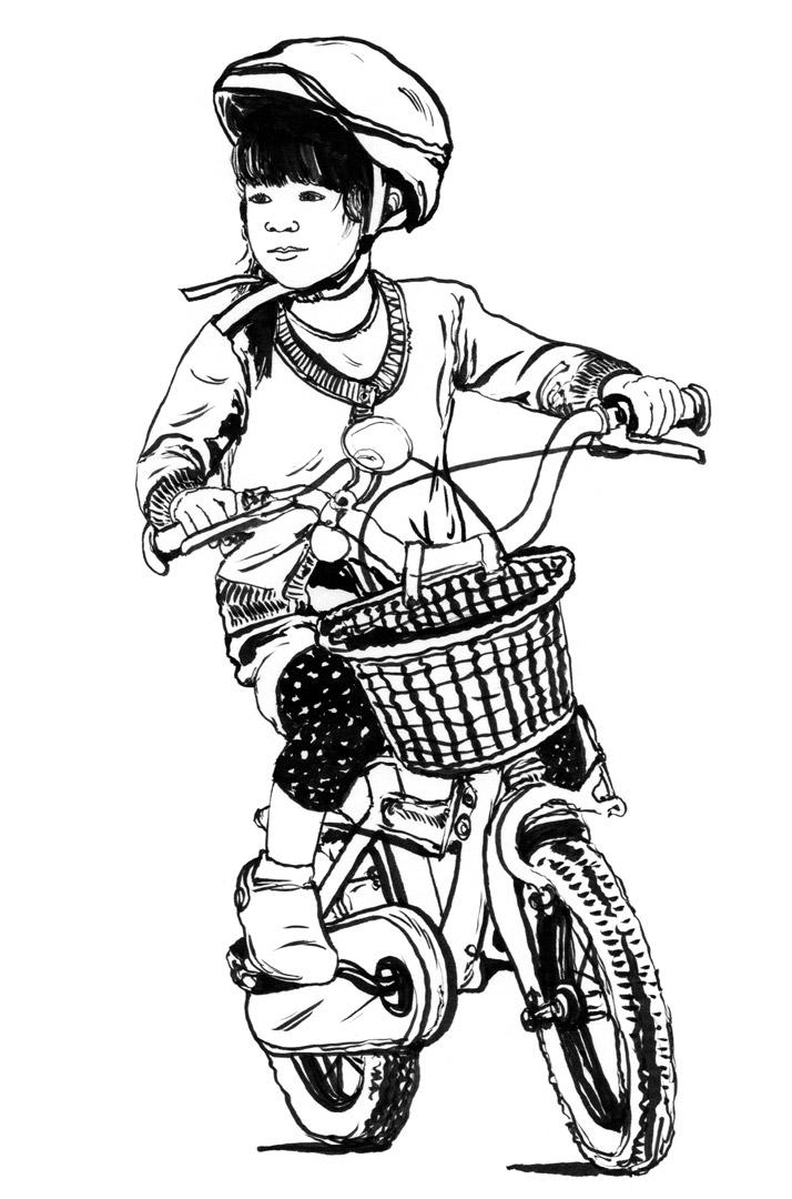 child on bike illustration